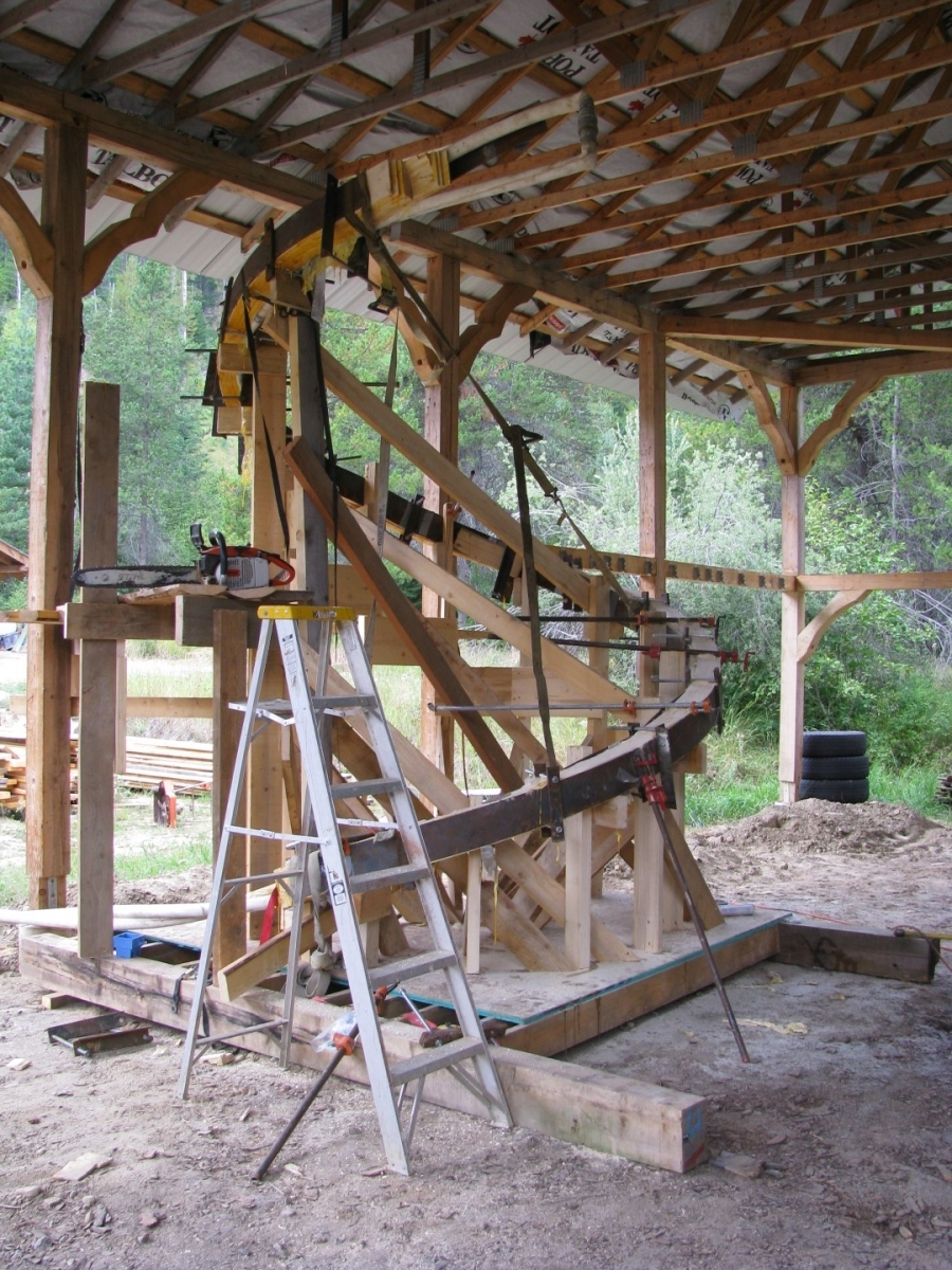 Log Spiral Stairs Handcrafted Wood
