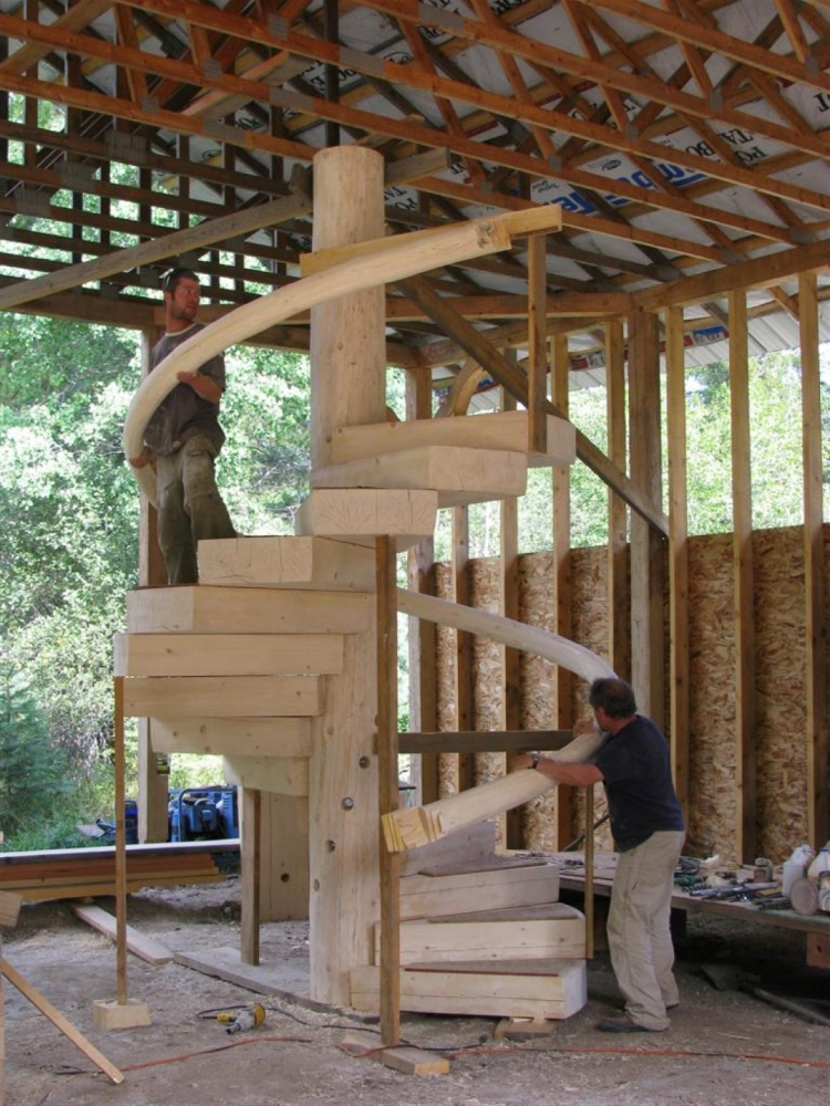 Fitting The Log Spiral Hand Rail | Log Spiral Stairs | Handcrafted Wood LLC