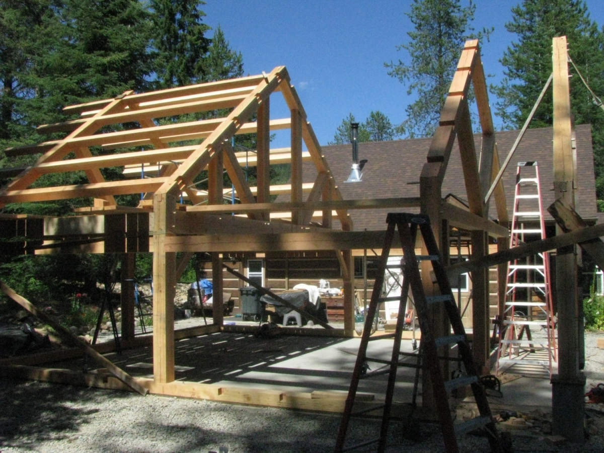 Timber frame garage handcrafted wood for A frame garage with loft