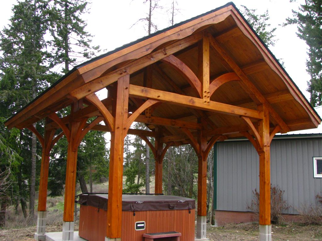 A Former Client Came Asked Us To Build A Timber Frame Pavilion Over Their Hot  Tub To Keep The Rain And Snow Off. They Wanted It To Coordinate With The  Home ...